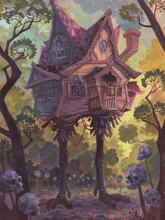 """The Hut on Chicken Legs"" by Laura  Bifano  Print available at http://www.inprnt.com/gallery/laurabifano/the-hut-on-chicken-legs/?utm_content=bufferfa477&utm_medium=social&utm_source=pinterest.com&utm_campaign=buffer  #artprint #art #illustration"
