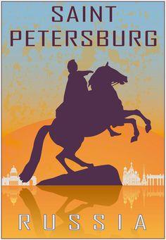 Saint Petersburg, Russia, travel poster.