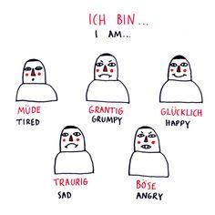 Deutsch Doodles - how to express emotions in german, part 1 - Study German, Learn German, Learn French, German Grammar, German Words, Deutsch Language, Teaching French, Teaching Spanish, Spanish Activities
