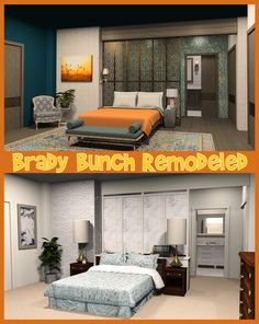 The Brady Bunch Remodel: Mike & Carol Brady's Master Bedroom. I do renderings of iconic TV homes, give video walk-through tours of the houses and then remodel them!