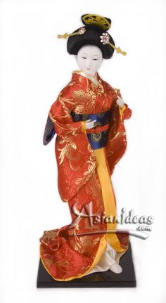 "Today's Feature Product :  Japanese Geisha Dolls w Red and Orange Kimono    This geisha Japanese doll, wearing a traditional red and orange kimono, is a beautiful reminder of a long lost time!  In Japanese, the word ""gei"" translates to arts or performance, while ""sha"" means people.     http://www.asianideas.com/japanesegeishadolls4.html"
