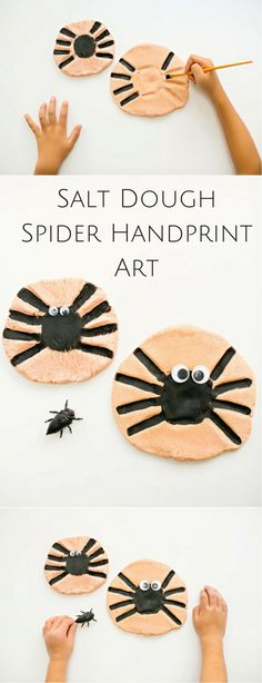 Handprint Spider Salt Dough Keepsake Art. Cute and non-spooky way for kids to…