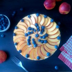 Own-made cheesecake with nectarines and blueberries :3
