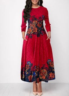 Party Dresses For Women Round Neck Red Three Quarter Sleeve Flower Print Dress Cheap Maxi Dresses, Tight Dresses, Sexy Dresses, Casual Dresses, Trendy Dresses, Blue Dresses, Evening Dresses, Red Long Sleeve Dress, Black Dress With Sleeves