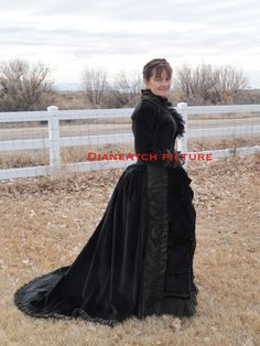 For Custom Order Only 1870's Victorian bustle mourning dress recreation by DianeAtch on Etsy https://www.etsy.com/listing/124813330/for-custom-order-only-1870s-victorian