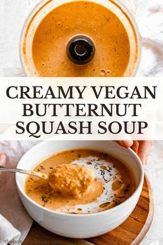 Incredibly easy creamy vegan butternut squash soup made from roasted butternut squash and packed with nutrients for an undetectably healthy fall comfort food recipe! Completely dairy free and full of vegan protein, this healthy squash soup is the perfect weeknight recipe for both kids and adults! #butternutsquash #squashsoup #fallrecipes #vegan