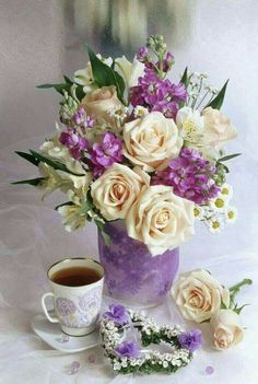 Plant Painting, Diy Painting, Beautiful Flower Arrangements, Floral Arrangements, Tea Party Attire, Paint By Number Kits, Good Morning Flowers, Good Night Image, My Cup Of Tea