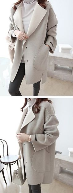 Stylish oversize solid round neck over sized coat for autumn and winter. Get it at $27.99 and enjoy our Season Sale with up to 80% OFF on everything