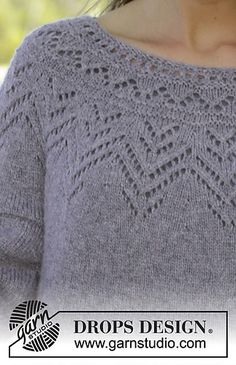 Agnes Sweater / DROPS - Free knitting patterns by DROPS Design Free knitting instructionsFree knitting instructionsPrima Donna / DROPS - Knitted scarf with ridges and lace, knitted from the top up. Summer Knitting, Lace Knitting, Knitting Stitches, Knit Crochet, Knitting Patterns Boys, Lace Patterns, Knitting Designs, Drops Patterns, Drops Design
