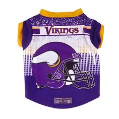 Your pet will go all-pro with the officially licensed Minnesota Vikings Pet Performance Tee. This moisture-wicking polyester t-shirt sports a colorful back with team helmet graphics. The front and . Dog Boutique, Contrast Collar, Minnesota Vikings, Stretch Fabric, Your Pet, Perfect Fit, Tee Shirts, Pets, Sleeves