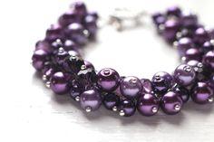 Dark Purple Wedding Bridesmaid Jewelry Pearl Cluster by skyejuice, $20.00