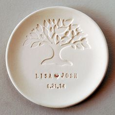 Wedding Favor Wedding gift Ring Dish Personalized Bridesmaids Mother-of-the-Bride Wedding commemorative MementoTree-Of-Life Ring Dish - New