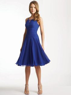 A-line Spaghetti Straps Knee-length Chiffon Party Dresses #USAcd0010