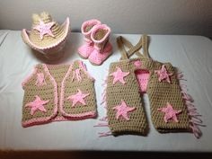 Crochet cowgirl outfit NB through 6 months by CrochetbyDestinee, $70.00