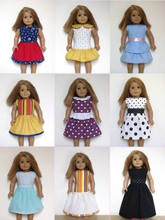 "18"" American Doll clothes sewing patterns to download - DRESS COLLECTION"