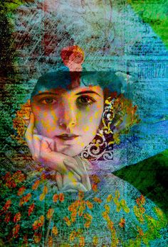 digital art collage, intriguing