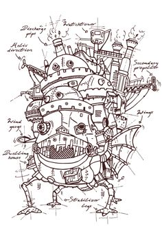 Studio #Ghibli: Howls Moving Castle plans t-shirt.