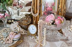 Dressing table ideas..Reminds me of my MamMaw Grace's dressing table. LOVE!!