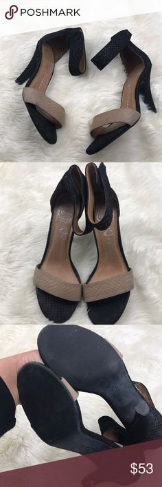 """Jeffrey Campbell 'Foxtrot' Heeled Sandals Size 6.5 In great preloved condition   Worn a few times— comes with no box.   Great shape!!   Size 6.5  Approx. heel height: 4"""". Adjustable hook-and-loop strap closure. Leather upper and lining/synthetic sole.  No trades, offers are welcome🤗 Jeffrey Campbell Shoes Heels"""