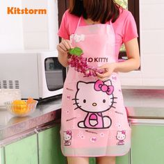 Hello Kitty Waterproof Apron Kitchen Women Kids Novelty Children Aprons