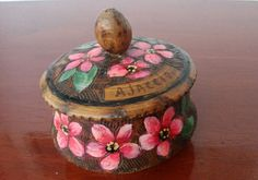 vintage French wood wooden carved box jewelry flower handmade handcraft France
