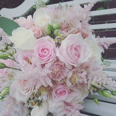 Romantic cream and pale pink rose bouquet by Rose Cottage Flower