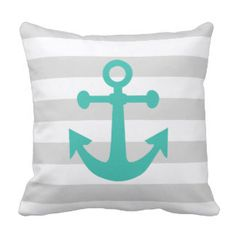 Nautical Gray Stripes Turquoise Anchor Outdoor Pillow