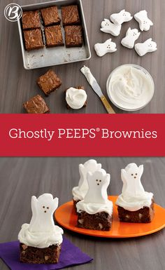 """Boo! These super-cute ghosts are sure to be the, ahem, life of the Halloween party treat table. If you're feeding a crowd, follow the directions for using a 9""""x 13"""" pan on the box of brownie mix, then use more frosting and Peeps marshmallow ghosts as needed."""