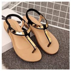 Golden Strap Sandals