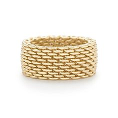 Tiffany Somerset™ ring in 18k gold, wide. Tiffany Mesh Ring, LOVE mine!
