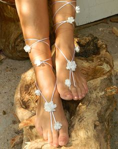 Little white flowers  Beach wedding barefoot sandals by fulyas, $38.00