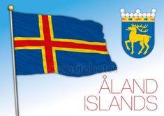 Bandiera e stemma ufficiali Aland, mare baltico, Europa