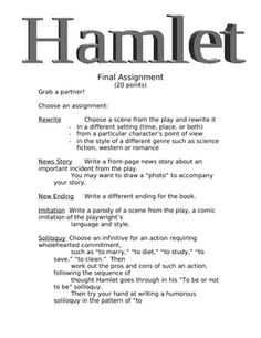 This assignment allows student to creatively demonstrate their understanding of the play.  There are several activities to choose from.  Diversified instruction.  Fun!