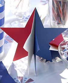 Paper Star Decorations These three-dimensional, star-shaped cutouts are ideal for decorating tables or invitations. Print the Star Template How to Make the Paper Star Decorations Patriotic Crafts, July Crafts, Holiday Crafts, Patriotic Party, Holiday Ideas, Memorial Day, Star Decorations, Homemade Decorations, Patriotic Decorations
