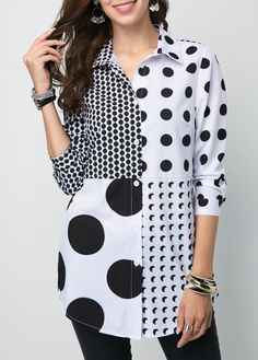 Cute Black And White Polka Dot Shirt Button Front Turndown Collar Polka Dot Shirt Blouse Styles, Blouse Designs, Vintage Clothing, Modest Fashion, Fashion Outfits, Womens Fashion, Trendy Tops For Women, Polka Dot Shirt, Feminine Fashion