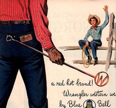 vintage western cowboy wrangler jeans 1950 by FrenchFrouFrou, $12.95