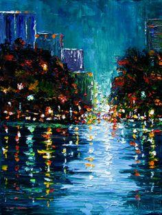 Debra Hurd Original Paintings AND Jazz Art: Cityscape impressionist texture painting art by Debra Hurd