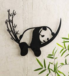 This lovely Resting Panda and Bamboo Metal Wall Art is a striking example of creative graphic design. Laser-cut from matte black metal, this unique wall art shows a weary panda getting comfy among some perfectly arched bamboo stalks. Outdoor Metal Wall Art, Metal Wall Art Decor, Unique Wall Art, Metal Art, Metal Cortado A Laser, Laser Cut Metal, Laser Cutting, Creative Walls, Wall Sculptures