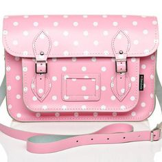 .Large Polkadot Satchel - handmade in England by Zatchels from the highest quality leather