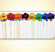 Acrylic Painting Colorful Flowers palette knife texture Fine Art by Osnat ready to hang