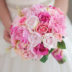 Iffo deep powder & pink orange wedding bouquet bride hand holding flower bridesmaid pectoral bride's artificial peony bouquet
