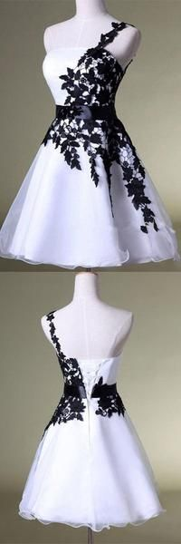 One shoulder prom dress white homecoming dress black lace evening dress