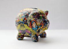 Decoupaged Marvel Superheroes Piggy Bank by BattlekatsBoutique