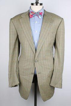 Hickey Freeman Gold w/ Multicolor Plaid Wool 44 L mens Sport Coat Blazer #HickeyFreeman #TwoButton