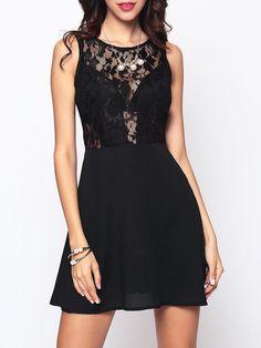 #BFCM #BlackFriday #CyberMonday #Fashionmia - #Fashionmia Hollow Out Patchwork Plain Designed Crew Neck Skater-dress - AdoreWe.com