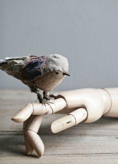 Tiny wool stuffed sparrow