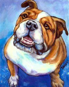 English Bulldog Dog Art 8x10 or 11x14 Print by DottieDracos, $12.00