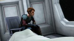 Anakin waiting for Ahsoka to wake up. AHSOKA: Gasp! (sits up with a start) Anakin gets up and puts a hand on her shoulder and gently pushes her back. ANAKIN: Easy Ahsoka, it's ok..... you're safe.
