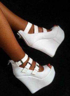 Shoes: white high heels, high heels, white, wedges, white wedges ...