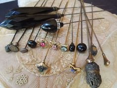Antique Collection of 18 Victorian Hat Pins Jet Glass Stones Extra Long
